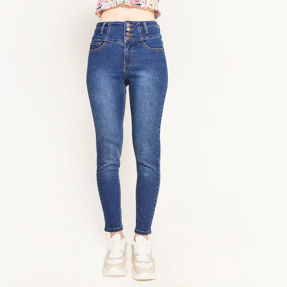 Jeans Pretina Alta Botones Frontales Sculpture Mujer Freedom image number 0.0