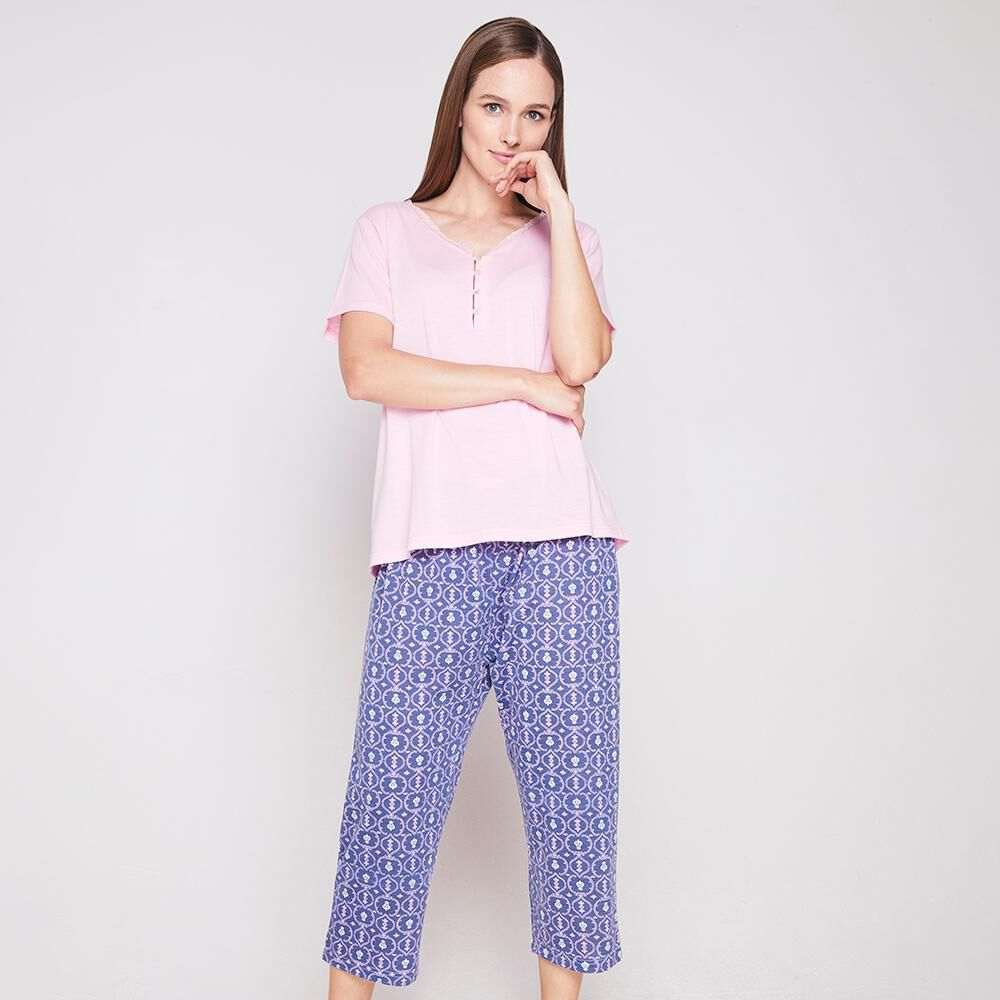 Pijama Capri Algodón Mujer Lesage image number 0.0