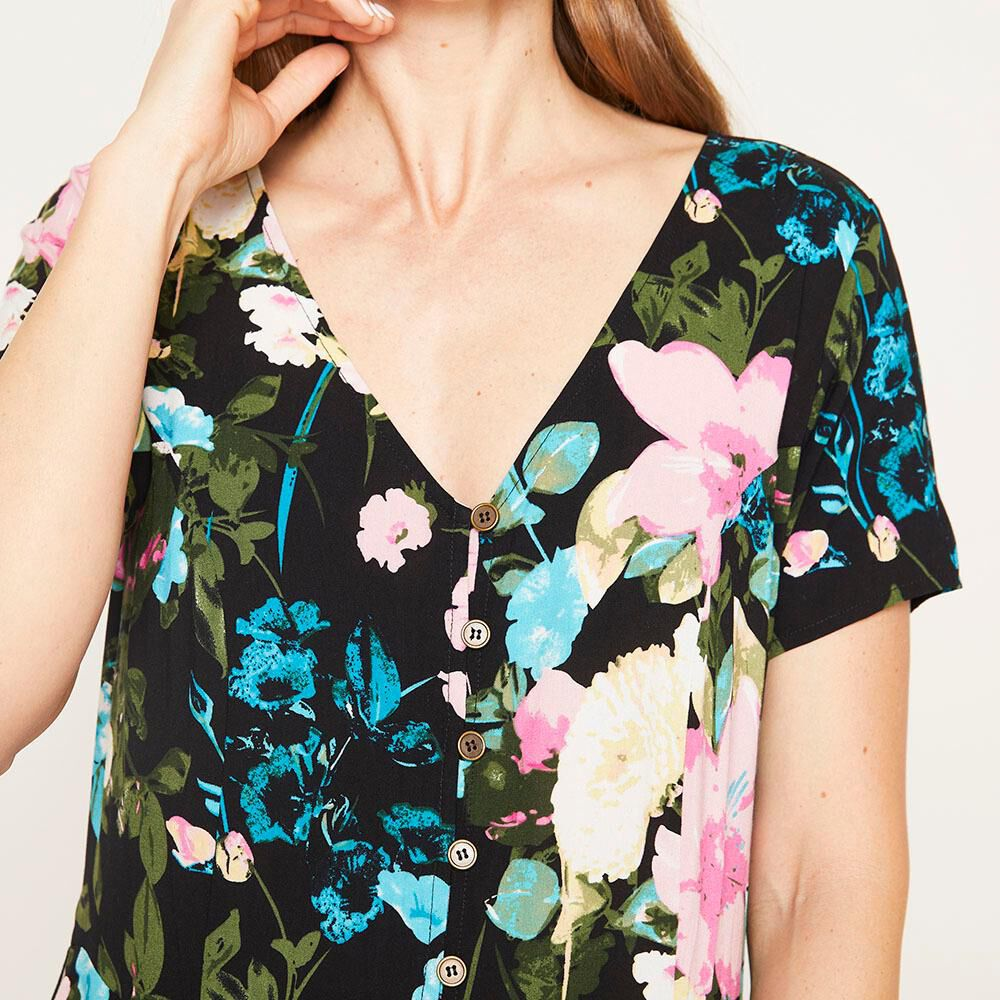 Vestido Corto Viscosa Flores Flores Regular Manga Corta Mujer Geeps image number 3.0