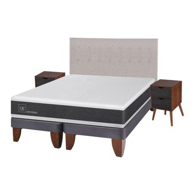 Cama Europea Cic Ortopedic / King / Base Dividida  + Set De Maderas