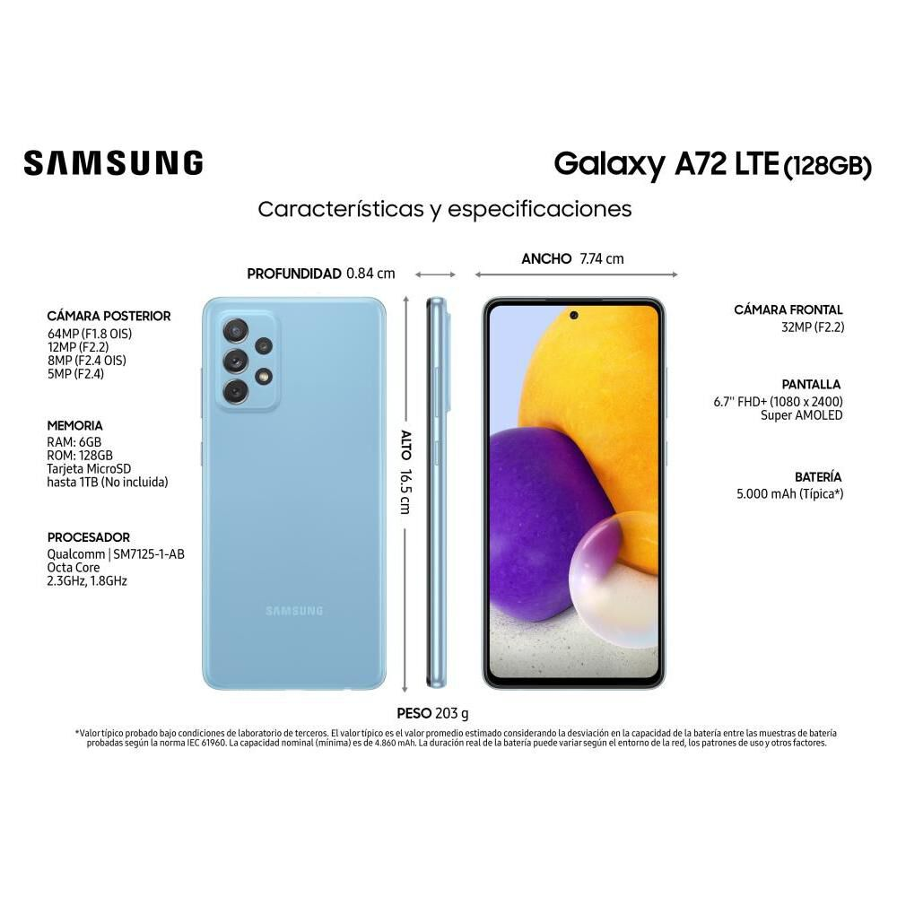 Smartphone Samsung A72 Blue / 128 Gb / Liberado image number 2.0