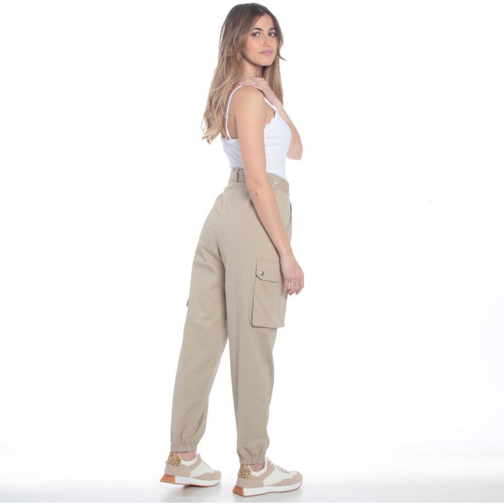 Pantalones Cargo Basta Elasticada Pretina Basica Tiro Alto Mujer Wados image number 4.0