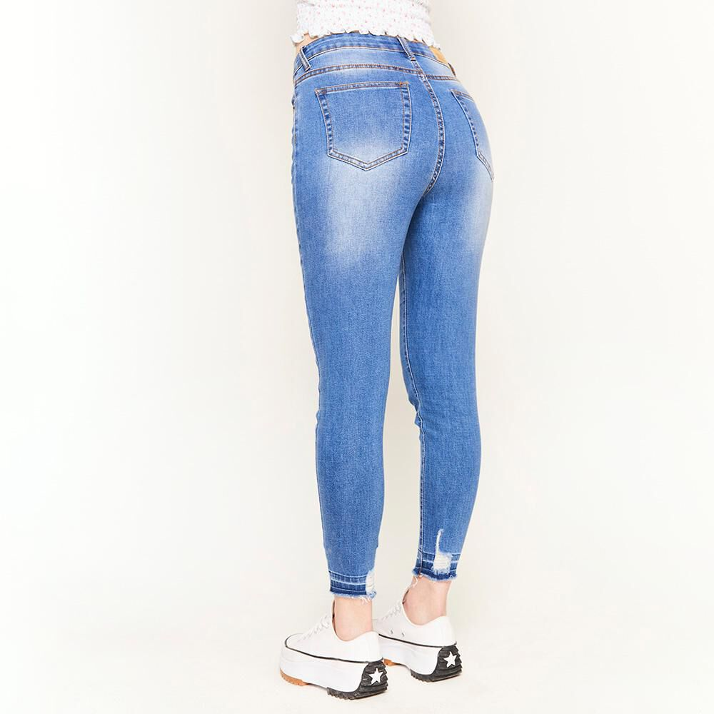 Jeans Rotura Tiro Alto Super Skinny Mujer Freedom image number 2.0