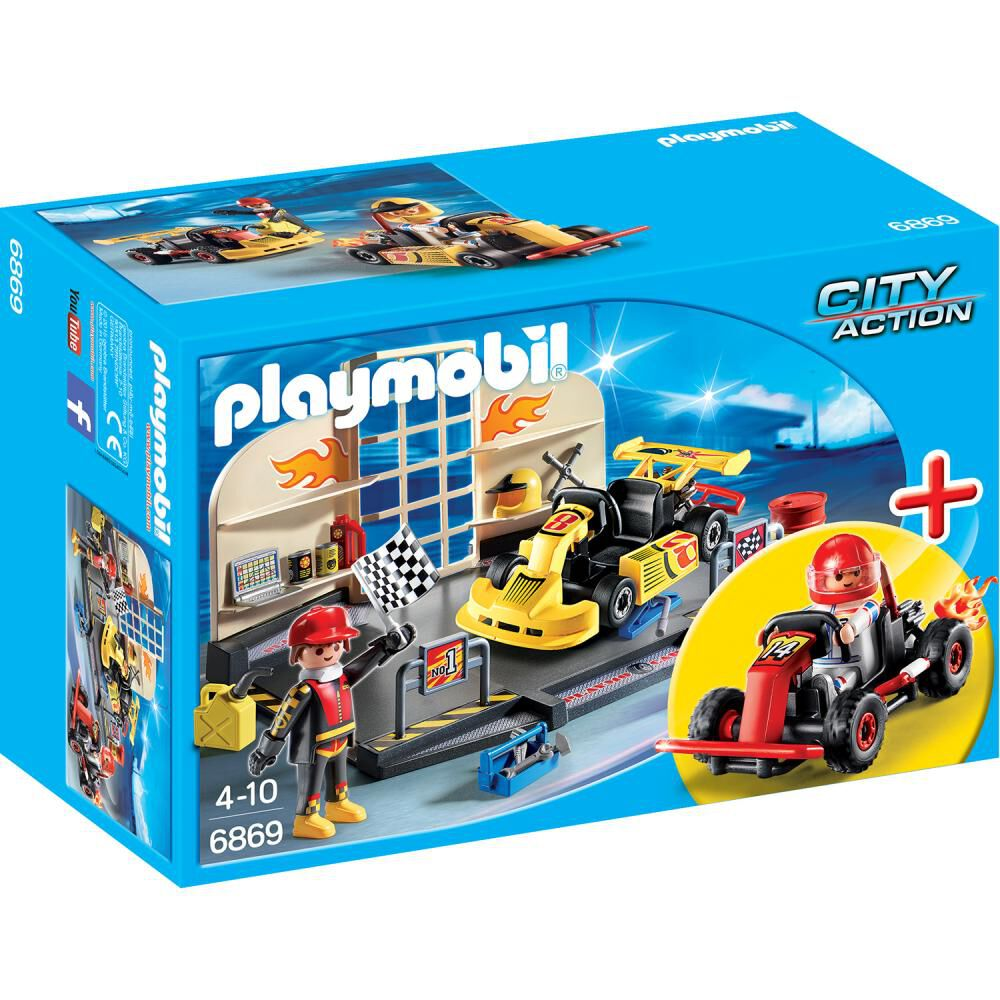 Figura De Acción Playmobil Taller De Carros De Carrera image number 1.0