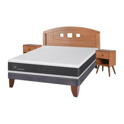 Cama Europea Cic Ortopedic / 2 Plazas / Base Normal  + Set De Maderas