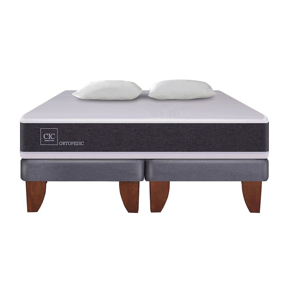 Cama Europea Cic New Ortopedic / 2 Plazas / Base Dividida + Almohadas image number 1.0