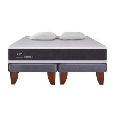 Cama Europea Cic New Ortopedic / 2 Plazas / Base Dividida + Almohadas