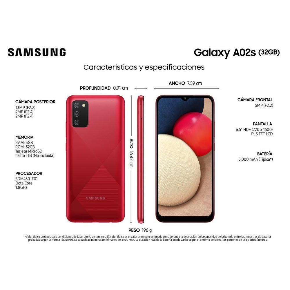 Smartphone Samsung A02S Rojo / 32 Gb / Liberado image number 1.0