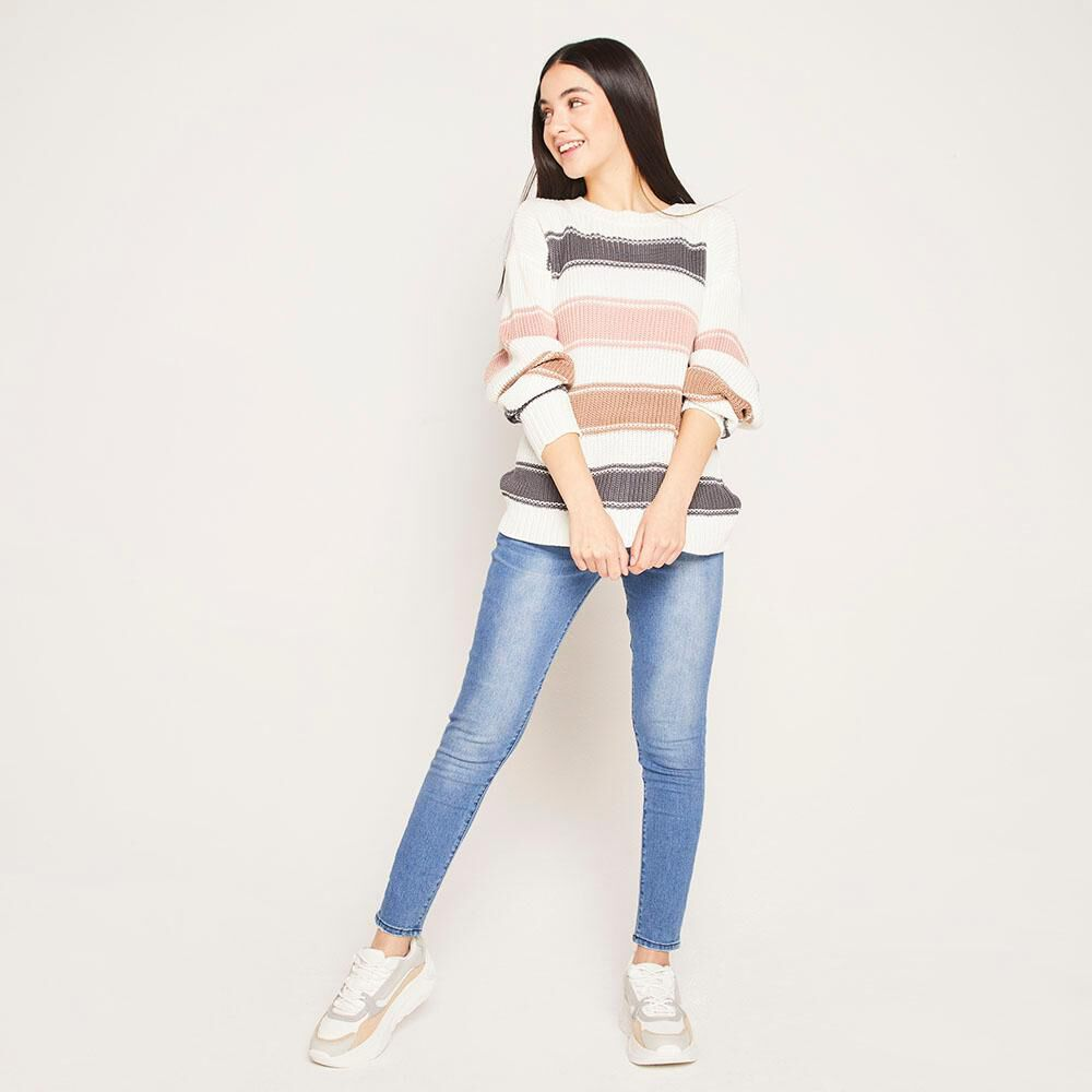 Sweater Lineas Relaxed Fit Cuello Redondo Mujer Freedom image number 1.0