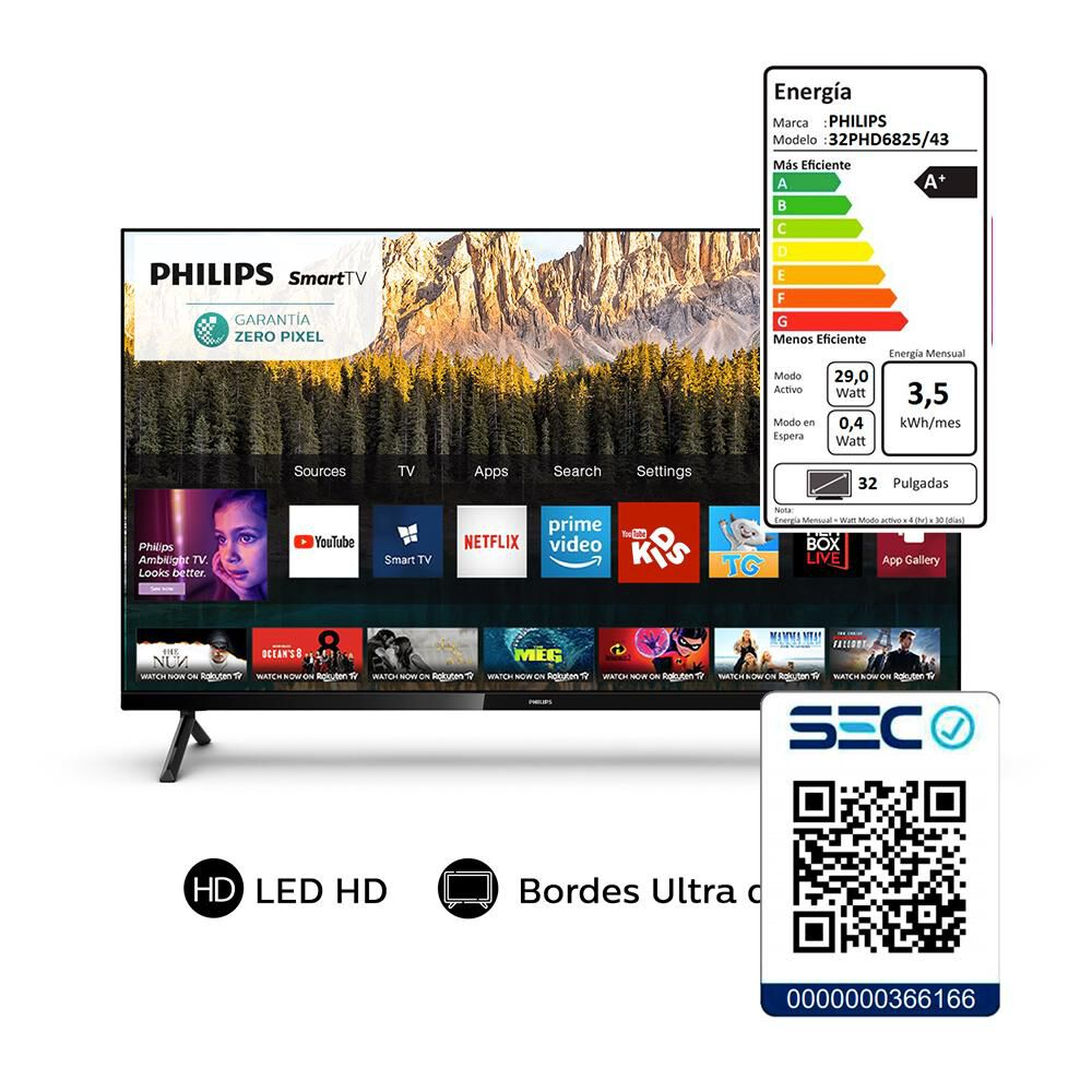 """Led Philips PHD6825 / 32 """" / HD / Smart Tv image number 6.0"""