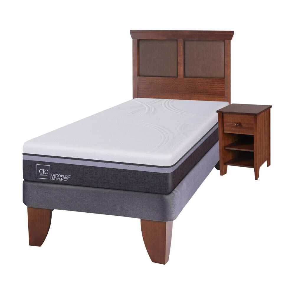 Cama Europea Cic Ortopedic / 1.5 Plazas / Base Normal  + Set De Maderas image number 1.0