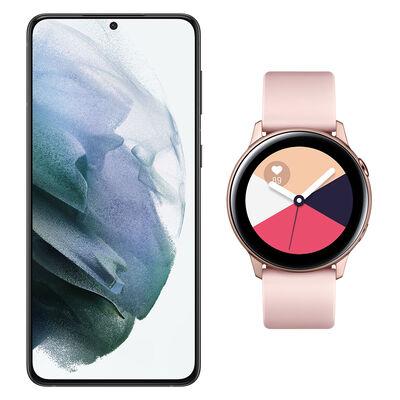 Smartphone Samsung Galaxy S21 Plus Negro + Galaxy Active Gold