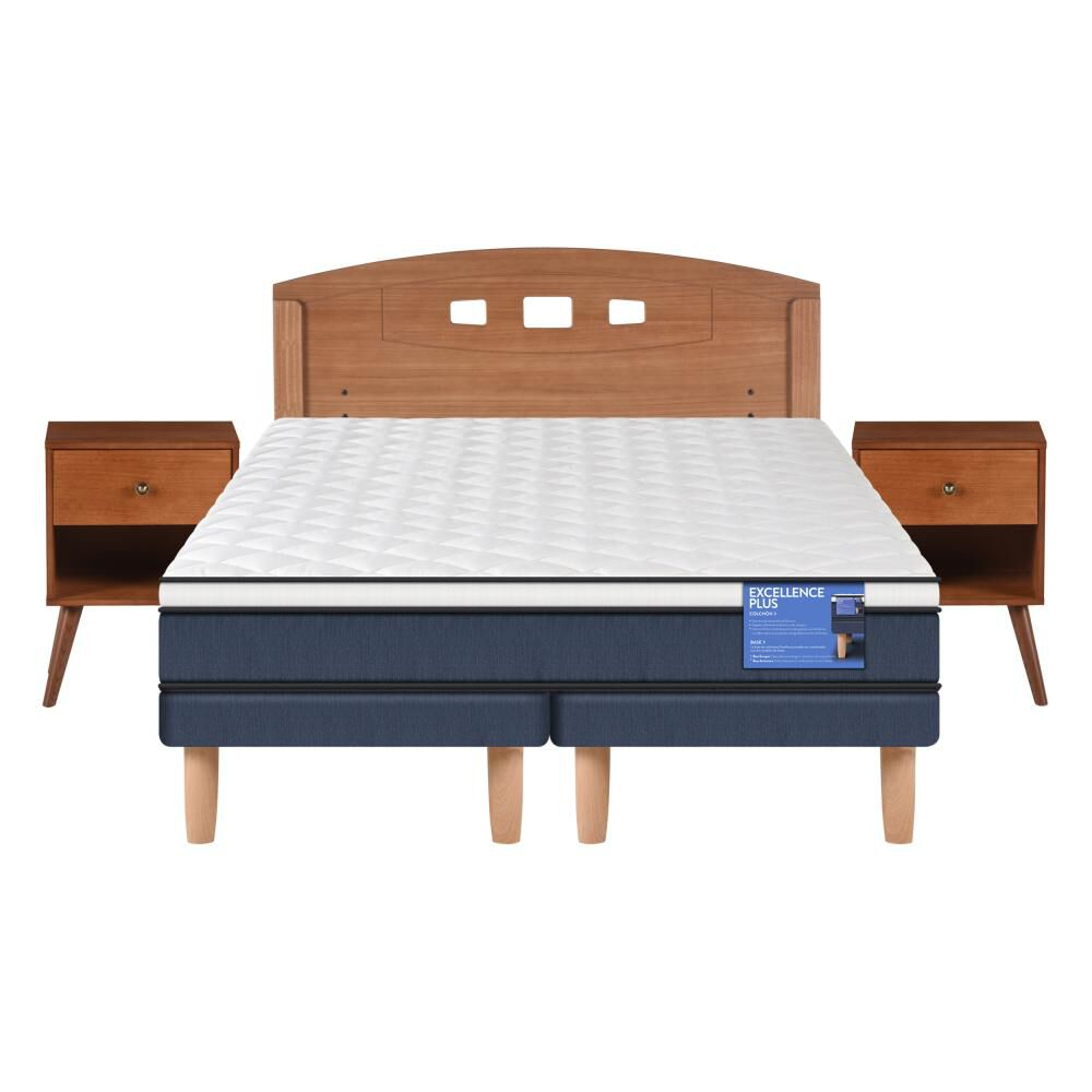 Cama Europea Cic Excellence Plus / 2 Plazas / Base Dividida  + Set De Maderas image number 0.0