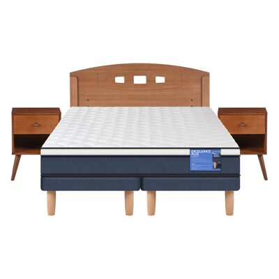 Cama Europea Cic Excellence Plus / 2 Plazas / Base Dividida  + Set De Maderas
