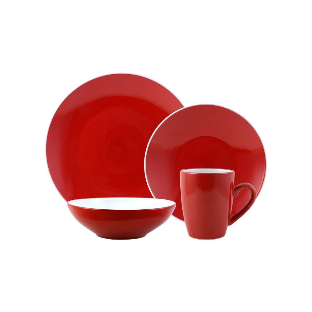 Juego De Vajilla Casaideal Bicolor Rojo / 24 Piezas image number 0.0