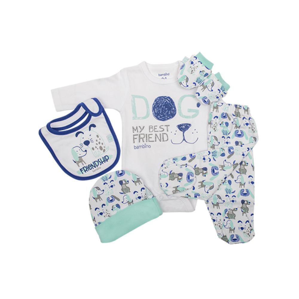 Set De 5 Piezas Baby Gift Perrito Celeste Bambino  image number 0.0