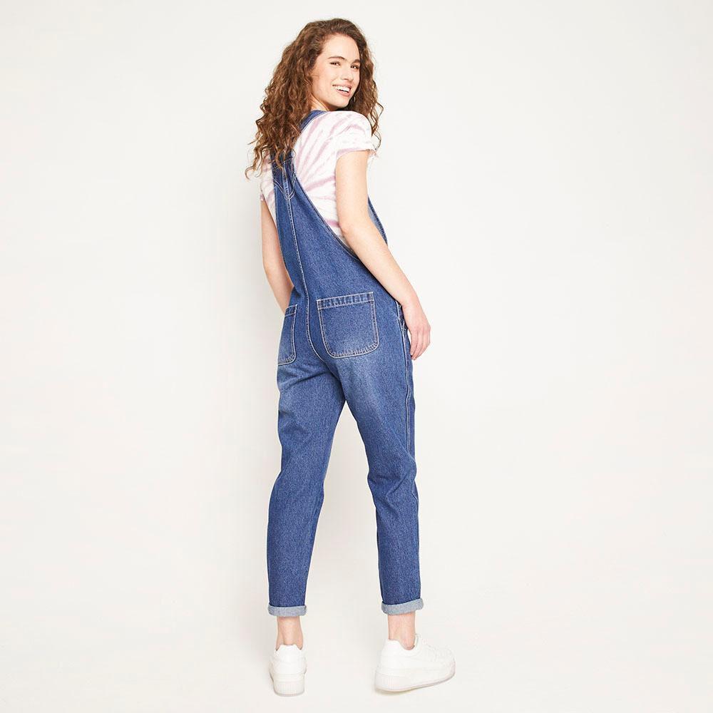 Jardinera Larga Jeans Mom Regular Fit Sin Mangas Mujer Freedom image number 2.0