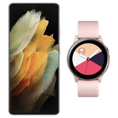 Smartphone Samsung S21 Ultra Plata + Galaxy Active Gold