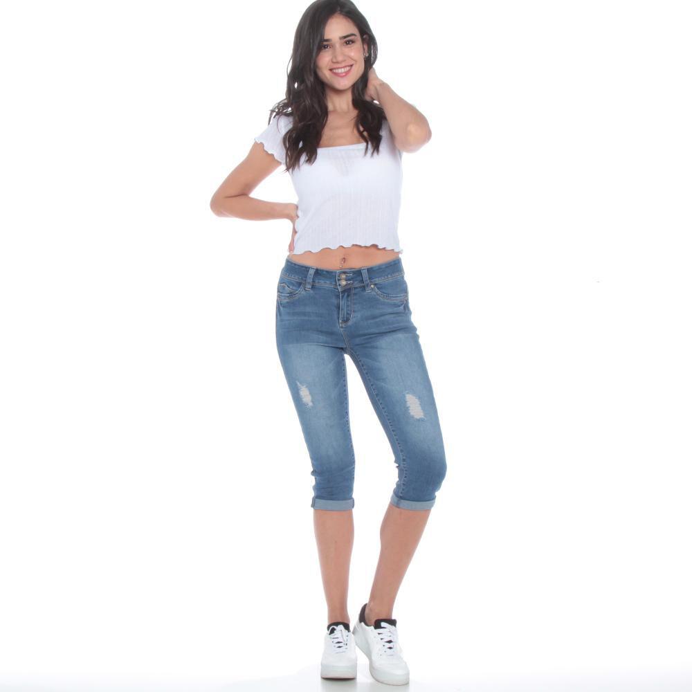 Jeans Crop Tiro Alto Mujer Wados image number 1.0
