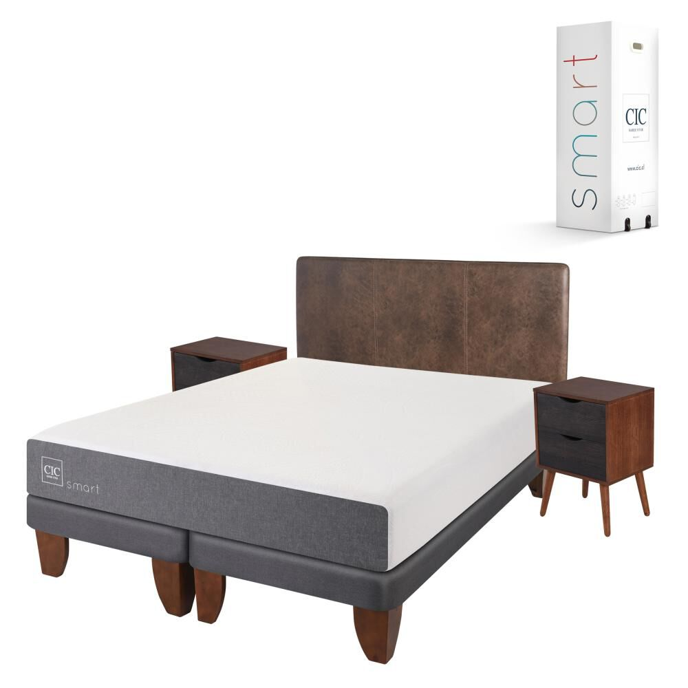 Cama Europea Cic Smart / 2 Plazas / Base Dividida  + Set De Maderas image number 1.0