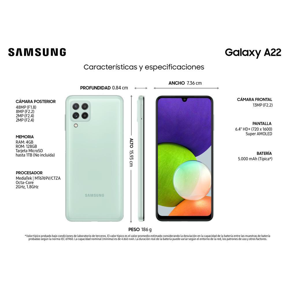 Smartphone Samsung Galaxy A22 Menta / 128 Gb / Liberado image number 1.0
