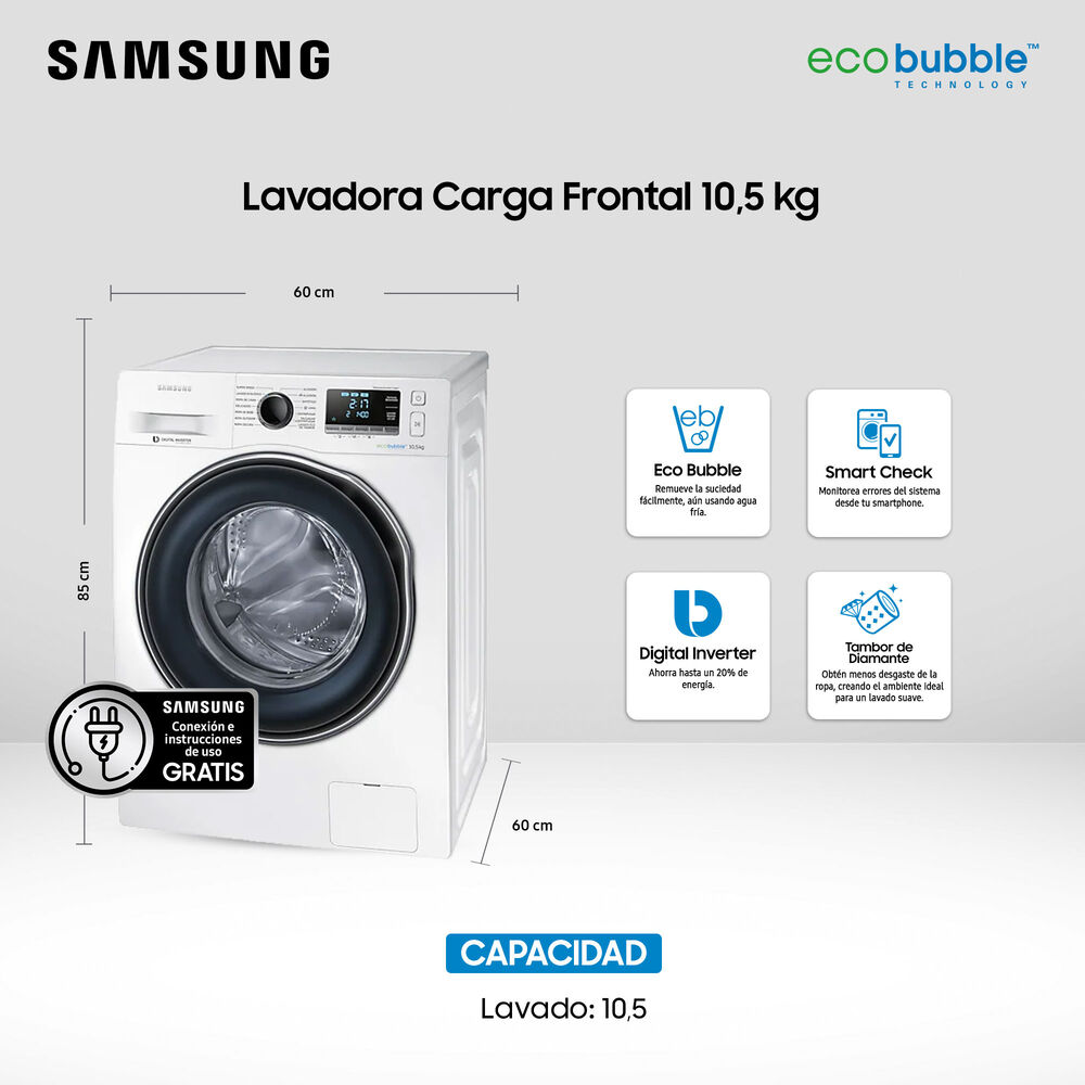 Lavadora Samsung WW10J6410CW 10.5 Kilos image number 5.0