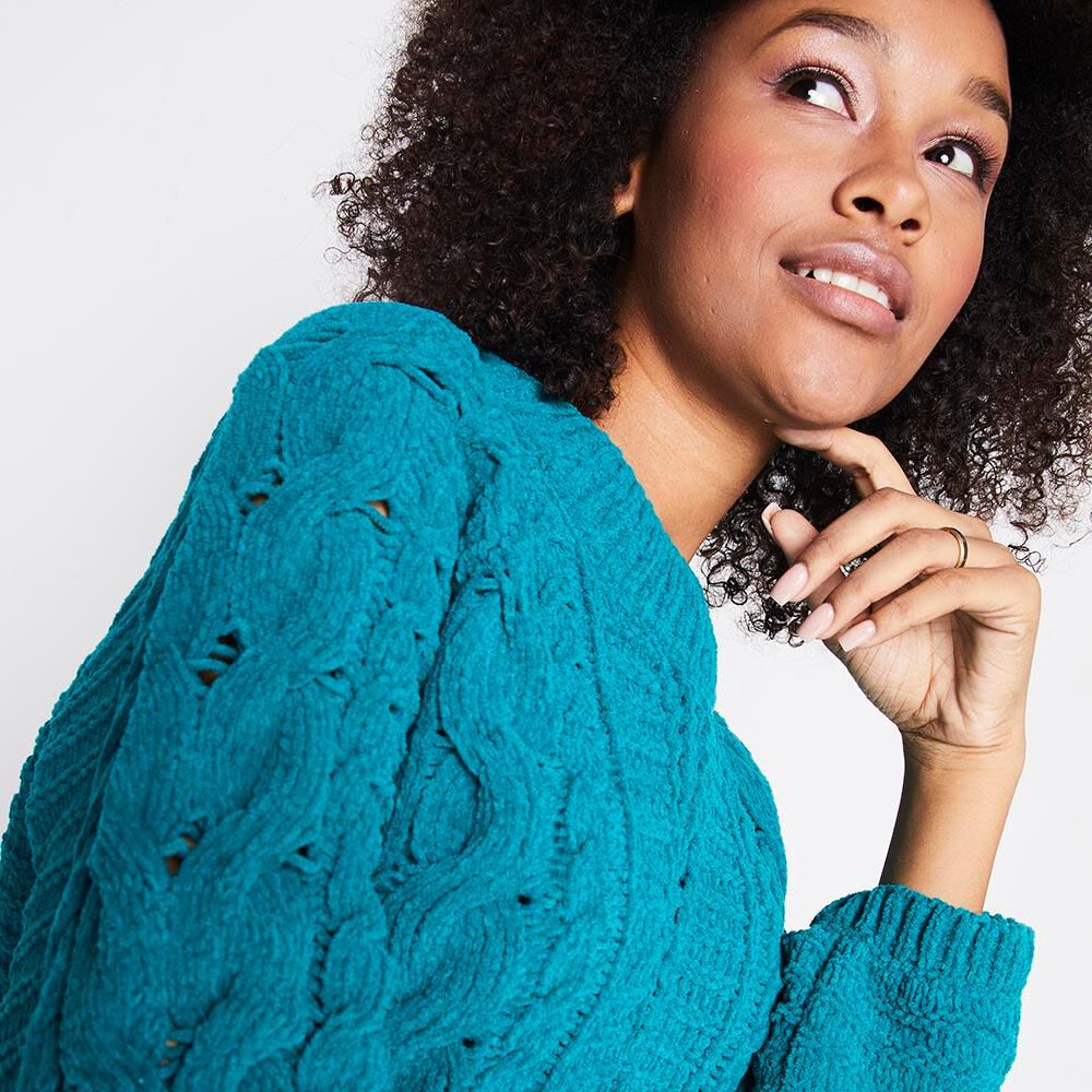 Sweater Tejido Trenzado Chenille Mujer Rolly Go image number 3.0