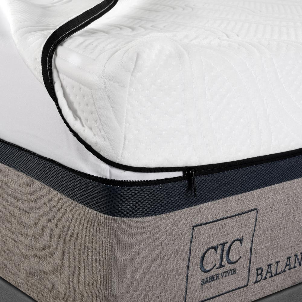 Box Spring Cic Balance / 2 Plazas / Base Dividida  + Set De Maderas image number 3.0