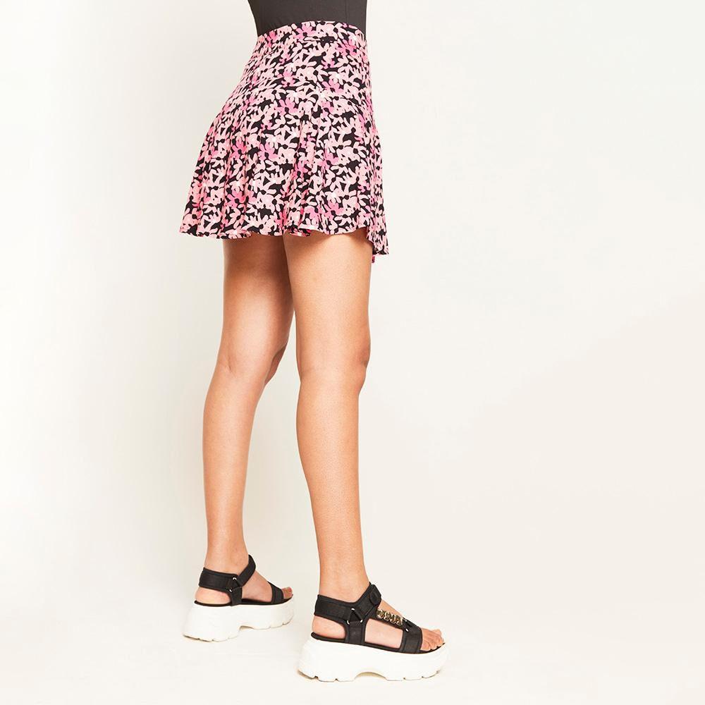 Short Falda Estampada Tiro Alto Regular Mujer Rolly Go image number 2.0