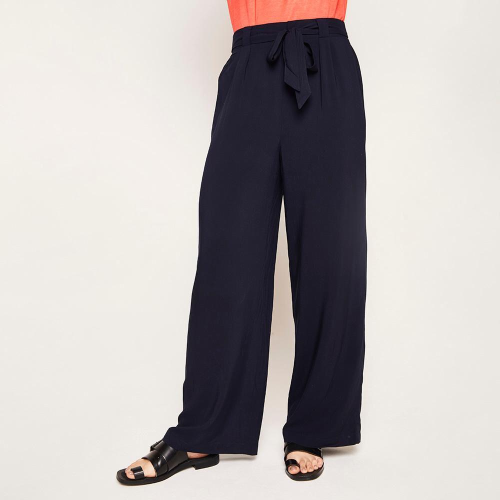 Pantalón Pretina Elástico Y Cinturón Tiro Medio Recto Mujer Kimera image number 0.0