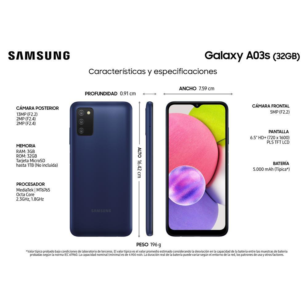 Smartphone Samsung Galaxy A03s Azul / 32 Gb / Liberado image number 2.0