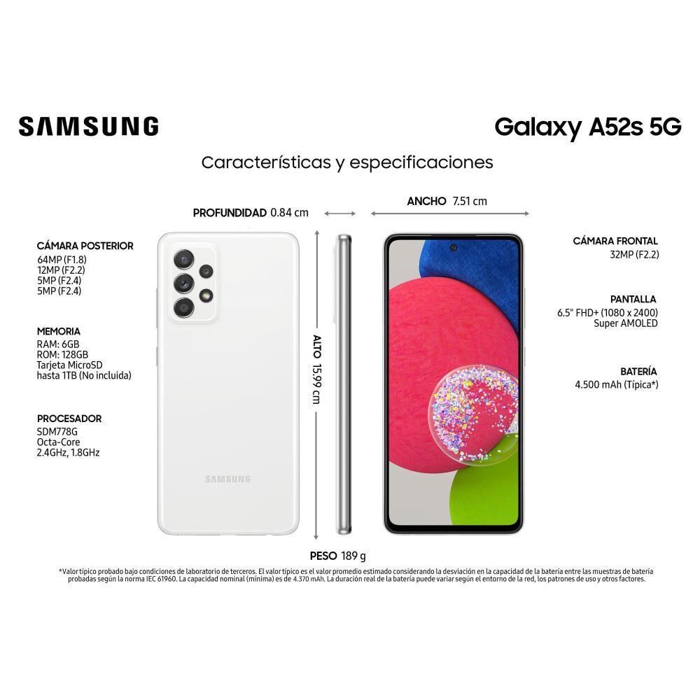 Smartphone Samsung Galaxy A52s Blanco / 128 Gb / Liberado image number 4.0