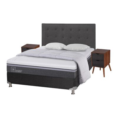 Box Spring Cic Ortopedic / 2 Plazas / Base Normal  + Set De Maderas + Textil