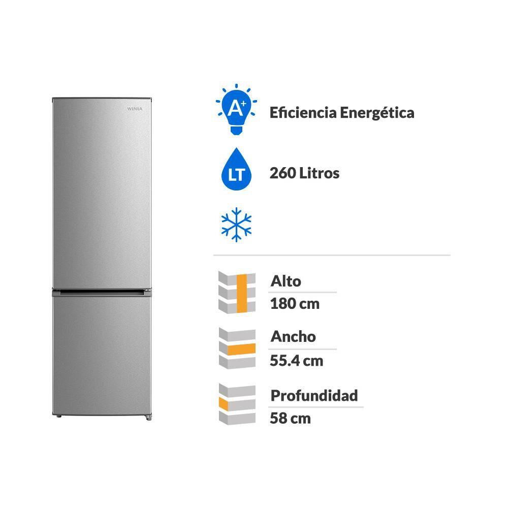 Refrigerador Winia Frío Directo, Bottom Freezer Rfd-366s 260 Litros image number 1.0