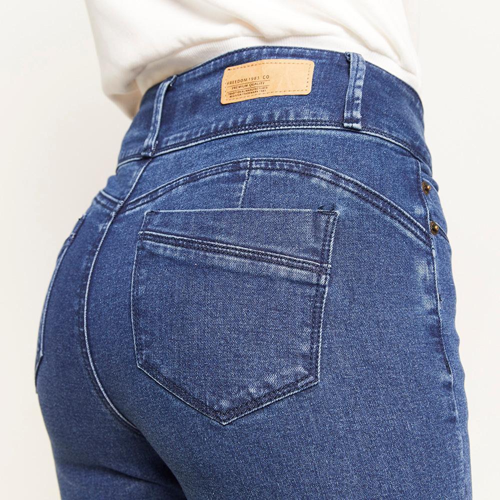 Jeans Pretina Ancha Botones Tiro Alto Sculpture Mujer Freedom image number 4.0