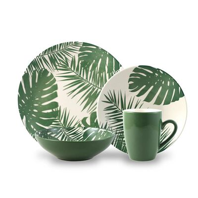 Juego De Vajilla Azhome Rainforest Green / 24 Piezas