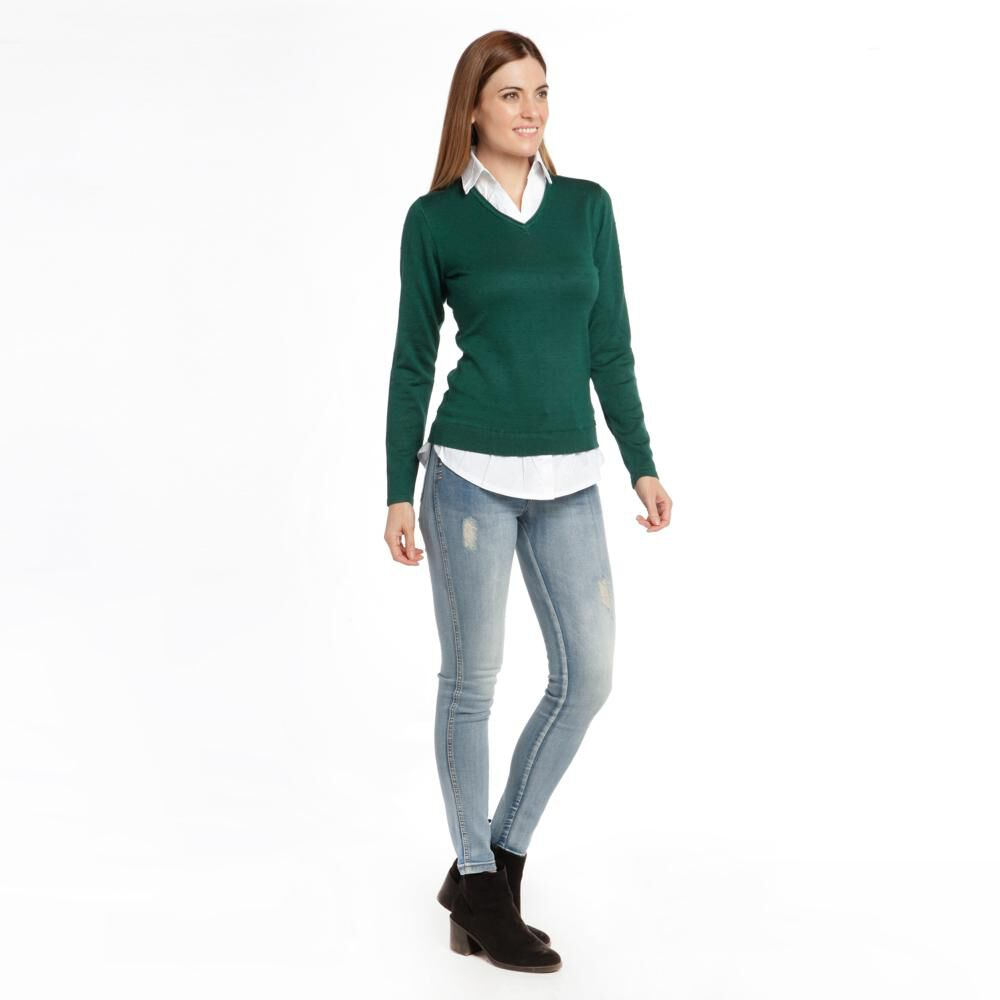 """Sweater Liso Cuello V Mujer Bny""""S image number 2.0"""