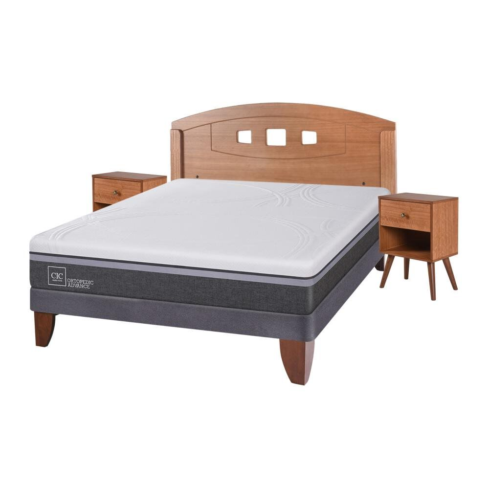 Cama Europea Cic Ortopedic Advance / 2 Plazas / Base Normal  + Set De Maderas image number 1.0