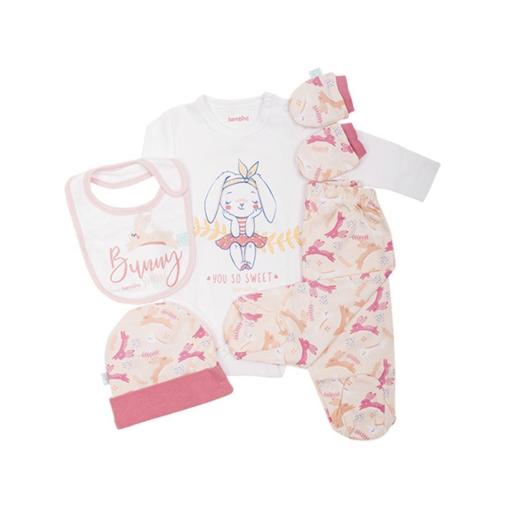Set de 5 Piezas Baby Gift Conejo Rosado Bambino  image number 0.0