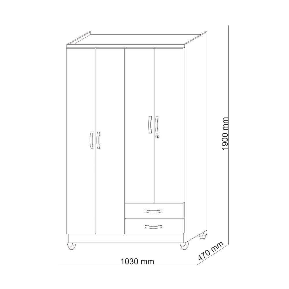 Closet Jdo&Desing Imbua / 4 Puertas / 2 Cajones image number 3.0