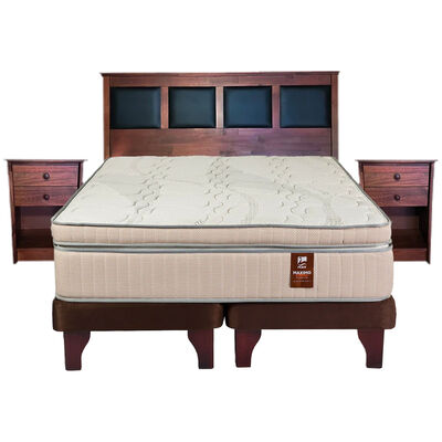Cama Europea Flex Maximo Cobre / King / Base Dividida + Set de Maderas New Corinto