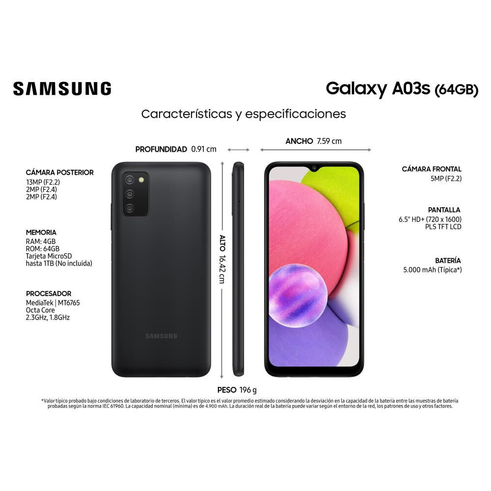 Smartphone Samsung Galaxy A03s Negro / 64 Gb / Liberado image number 2.0
