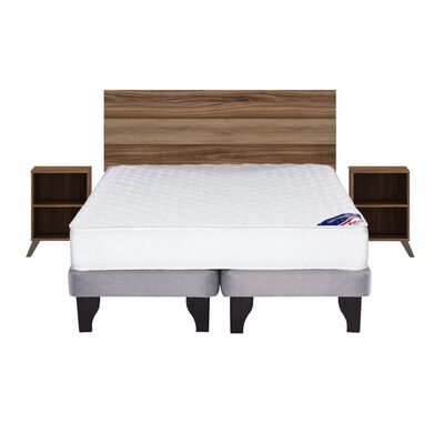 Cama Europea Flex New Entree / 2 Plazas / Base Dividida + Set de Maderas Sintra