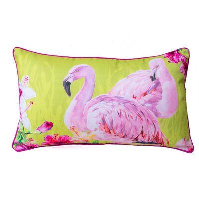 Cojín Ines Johnson Flamingos E Hibiscus