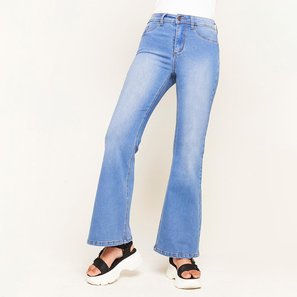 Jeans Tiro Alto Flare Mujer Rolly Go image number 0.0
