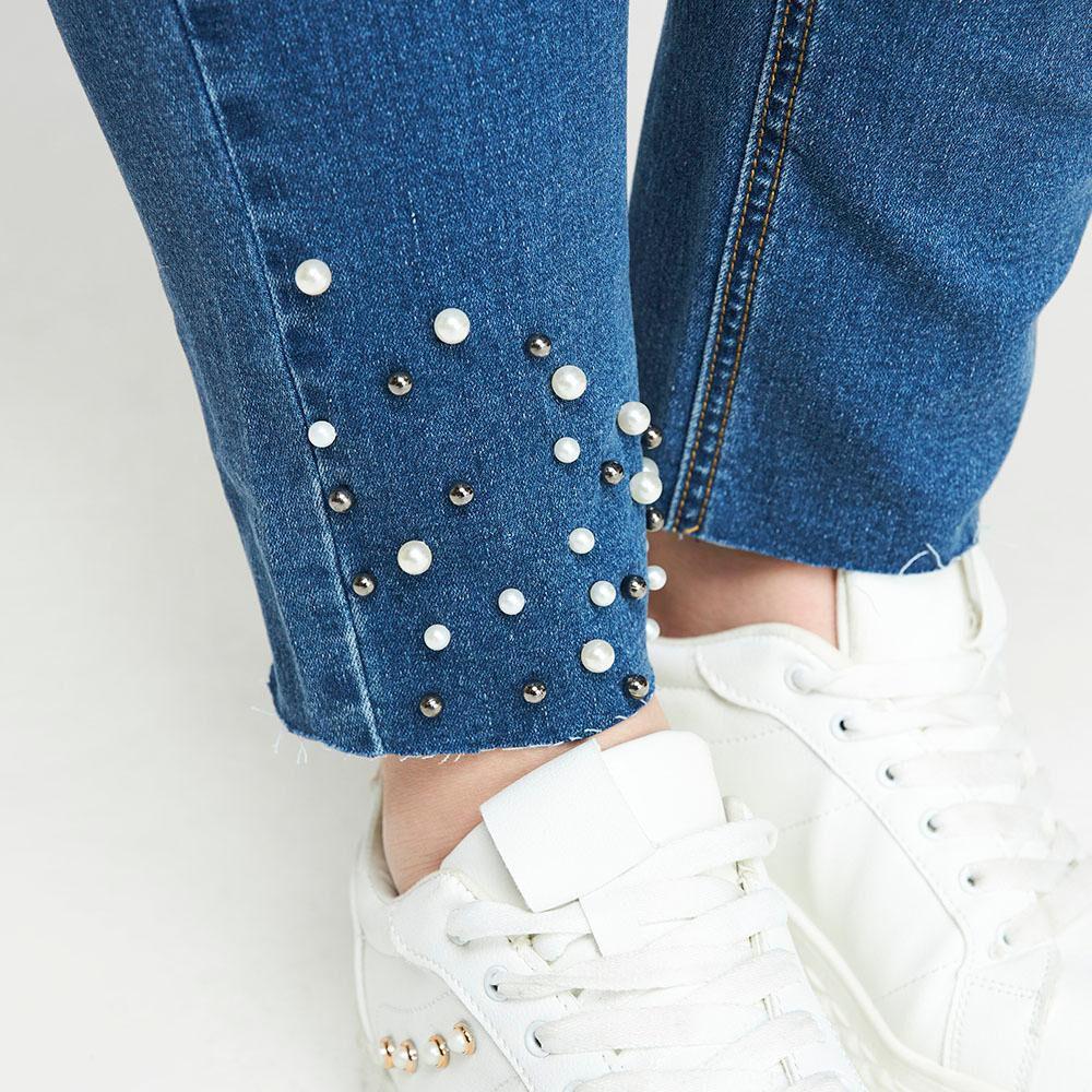 Jeans Con Aplicación Perlas Tiro Medio Regular Mujer Sexy Large image number 5.0