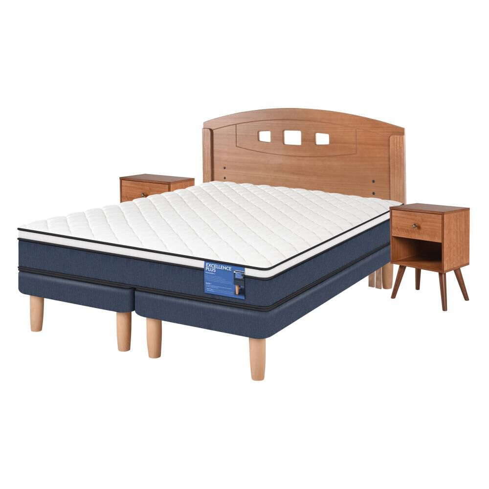Cama Europea Cic Excellence Plus / 2 Plazas / Base Dividida  + Set De Maderas image number 1.0