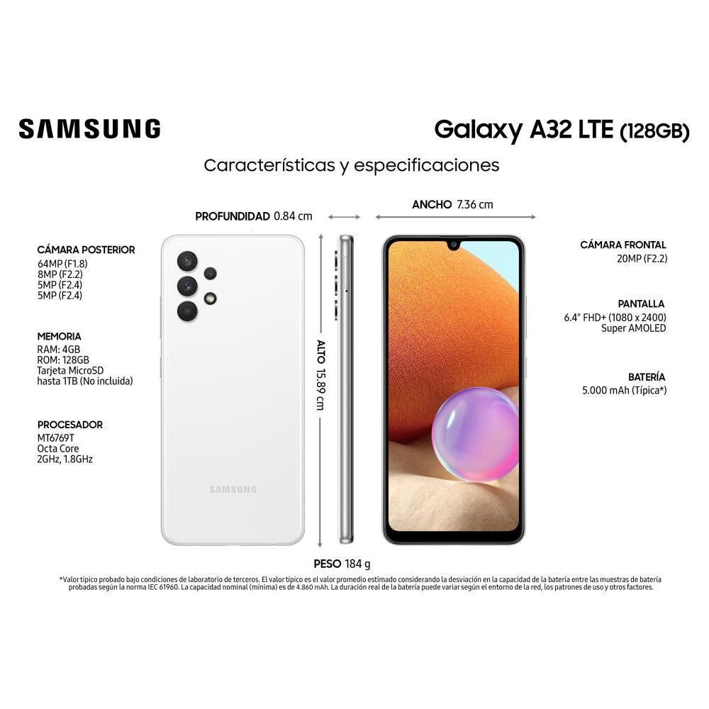 Smartphone Samsung A32 Blanco / 128 Gb image number 2.0