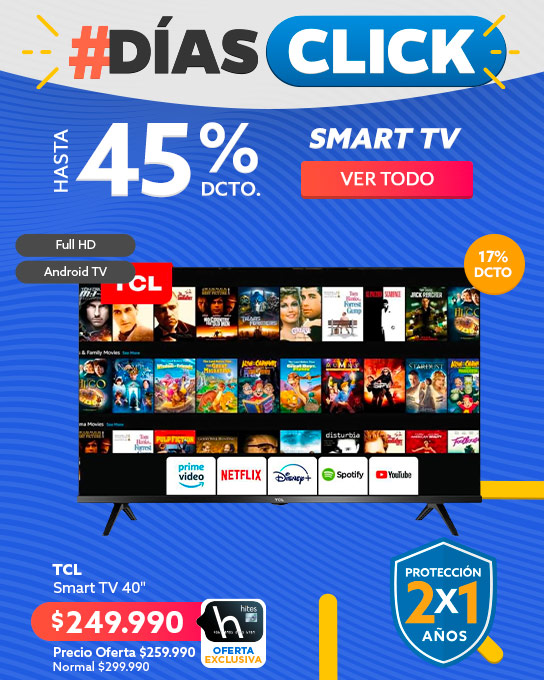 Smart TV hasta 45% dcto en hites.com