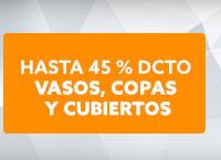 VASOS, COPAS Y CUBIERTOS Hasta 45% dcto  hites.com